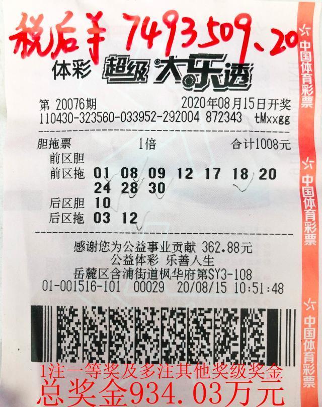 2020.08.15长沙市体彩大乐透第20076期934.03万元大奖.jpg